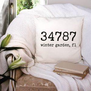 Winter Garden Zip Code Pillow for Sale at Driftwood Market