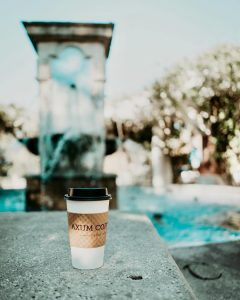 Cup of Axum Coffee In Front of the Fountain at Centennial Plaza