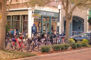 Bicycles Park Outside of Axum Coffee