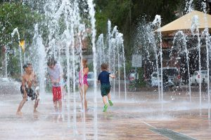 Children Playing in the Downtown Interactive Fountain