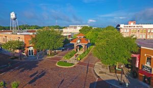 Aerial Shot of Plant Street Centennial Park Clock Tower