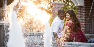 Couple Enjoying the Fountain in Centennial Park