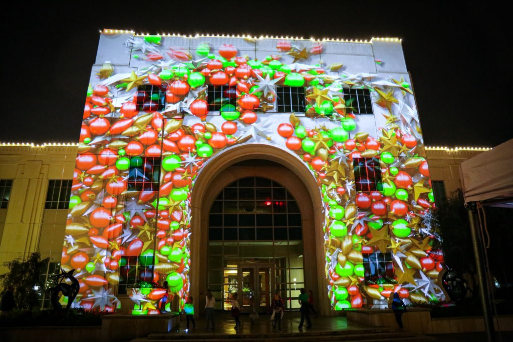 Christmas Image Projected on City Hall