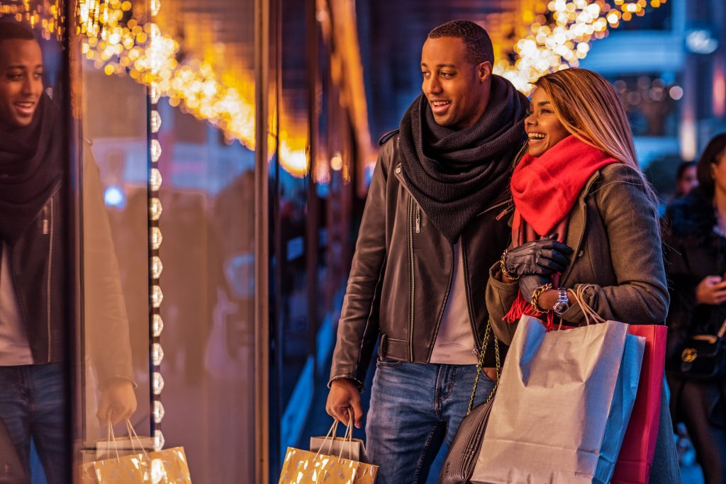 Beautiful Couple Christmas Shopping